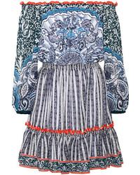 Mary Katrantzou Off The Shoulder Printed Swiss Dot Chiffon Mini Dress Blue