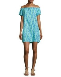 Vineyard Vines Palm Printed Off The Shoulder Dress