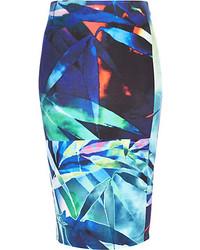 Blue palm leaf print pencil skirt medium 147258