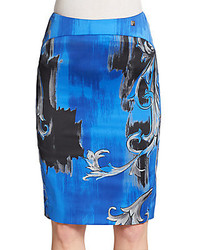 Scoll print pencil skirt medium 147256