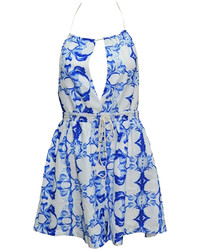 Choies Blue Floral Print Backless Romper Playsuit