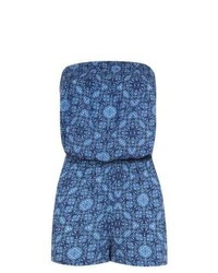 Exclusives New Look Blue Tribal Print Bandeau Playsuit