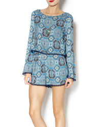 Lovposh turquoise printed romper medium 112399