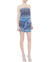 Diane von Furstenberg Miranda Strapless Jumpsuit With Tie Waist Blue Moroccan Lace