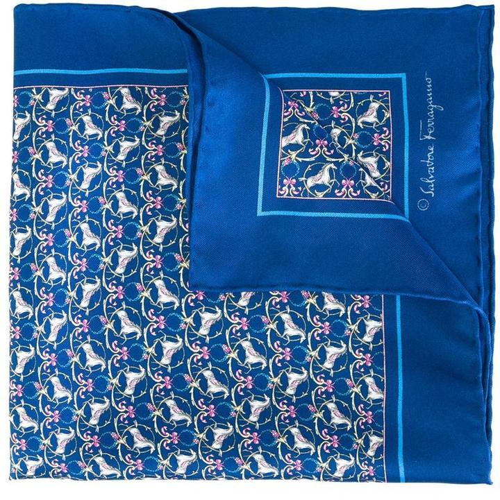 4f5827660987a ... Blue Print Pocket Squares Salvatore Ferragamo Horse Print Pocket Square