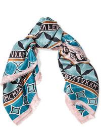 Fendi Fringed Printed Silk Twill Scarf Blue