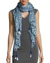 Multi printed tassel scarf blue medium 3717407