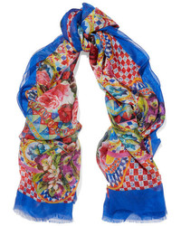 Printed silk chiffon scarf blue medium 3660124
