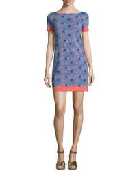Tory Burch Elisabeth Short Sleeve Printed Sheath Dress Sea Coral Artemis