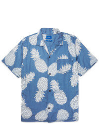 Beams Aloha Camp Collar Pineapple Print Voile Shirt