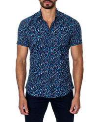 Jared Lang Abstract Butterfly Print Short Sleeve Shirt