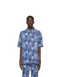 Nonnative Blue Patchwork Dweller Short Sleeve Shirt