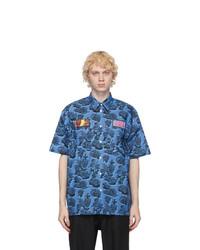 Stella McCartney Blue Ricky Patch Short Sleeve Shirt