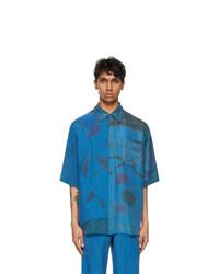 Marine Serre Blue Silk Patchwork Scarves Short Sleeve Shirt