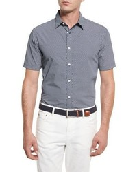 Michael Kors Michl Kors William Printed Short Sleeve Sport Shirt Navy