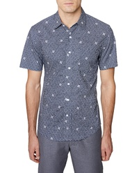Hickey Freeman Print Short Sleeve Sport Shirt