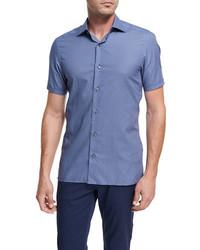 Ermenegildo Zegna Record Print Short Sleeve Cotton Shirt Dark Blue