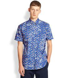 Comme des Garcons Shirt Cartoonfloral Print Short Sleeved Cotton Sportshirt