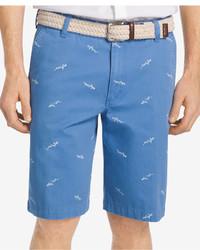 Izod Flat Front Shark Print Shorts