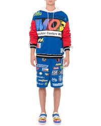 Moschino Logo Patch Print Shorts Blue