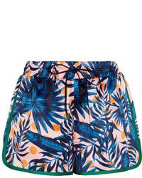 Sjyp Steve J Yoni P Printed Satin Shorts Blue