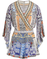 Camilla Chinese Whispers Embellished Printed Silk Crepe De Chine Playsuit Light Blue
