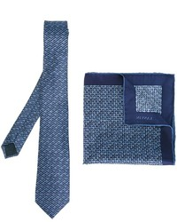 Lanvin Stitch Print Tie And Pocket Square