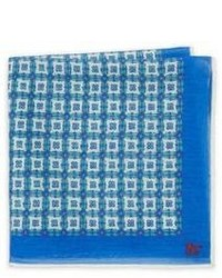 Isaia Medallion Printed Silk Pocket Square