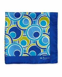 Kiton Retro Circle Printed Silk Pocket Square Navy