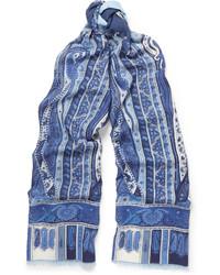 Blue Print Silk Scarf