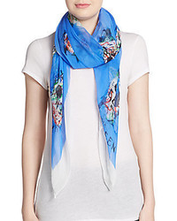 Alexander McQueen Silk Colored Skull Print Scarf