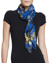 McQ Alexander McQueen Tiger Striped Floral Square Scarf Electric Blue