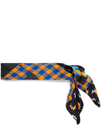 Printed silk scarf navy medium 5083464