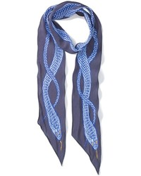 Rockins Blue Silk Snake Skinny Scarf