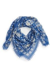 Skull print silk modal scarf medium 1150308