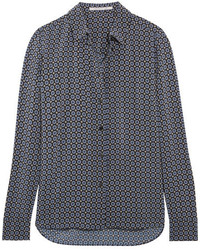 Stella McCartney Wilson Printed Silk Crepe De Chine Shirt Blue