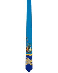 Versace Blue Yellow Silk Trsor De La Mer Tie