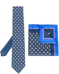 Etro Penguin Print Tie And Pocket Square Set