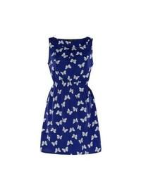 New look blue butterfly print skater dress medium 151677