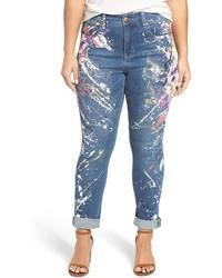 Melissa McCarthy Seven7 Blunder Splatter Print Roll Cuff Stretch Skinny Jeans