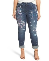 Melissa McCarthy Plus Size Seven7 Paint Splatter Print Roll Cuff Stretch Skinny Jeans