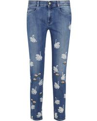 Stella McCartney Swan Printed Embroidered High Rise Skinny Jeans Light Denim
