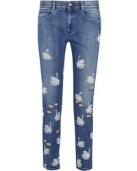 Stella McCartney Swan Printed Embroidered High Rise Skinny Jeans Light Denim