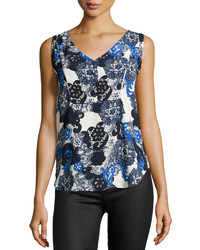 Blue Print Sleeveless Top