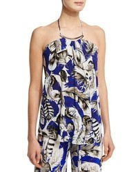 Roberto Cavalli Feather Print Halter Neck Top Bluepink