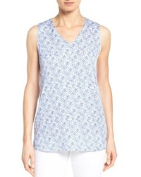 Nordstrom Collection Tile Print Sleeveless Stretch Silk Blouse