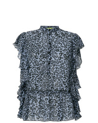 Versace Jeans Ruffled Leopard Print Blouse