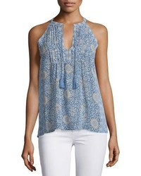 Joie Shara Split Neck Printed Silk Top