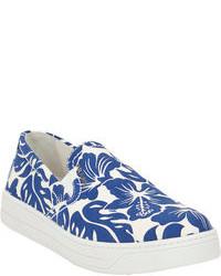 Prada Linea Rossa Hibiscus Slip On Sneakers