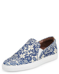 Tabitha Simmons Huntington Floral Print Slip On Sneaker Blueecru